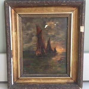 Antique Seascape Oil Painting Sailing Boats Framed Distressed Early 20th C. Art