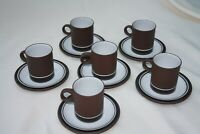 Vintage, Collectable , Hornsea 'Contrast' Espresso Cups & Saucers x 6