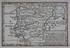 Miniatura Original Antiguo Mapa España & Portugal, Atlas Minimus, J Gibson, c.1792