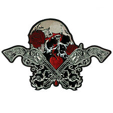 VEGASBEE® LARGE SKULL GUNS ROSES HEART LOVE KILLS EMBROIDERED LEATHER PATCH 12""