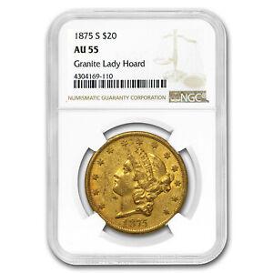 1875-S $20 Liberty Gold Double Eagle AU-55 NGC (Granite Lady) - SKU#186896