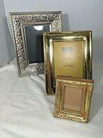 lot of 3  2 Are 5x7 Picture frames 1 solid brass + 1 2 1/2 X 3 1/2