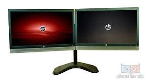"Dual 24""|HP E240c LED IPS Monitors Matching Desk Stand &Dock HDMI DP VGA WC MIC"