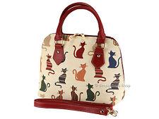 Signare Ladies Tapestry Handbag Convertible Shoulder Bag In Cheeky Cat Design