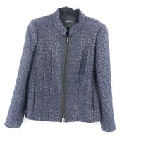 Lafayette 148 Womens Jacket Size 12 Tweed Metallic Zip Up Collarless Navy Silver