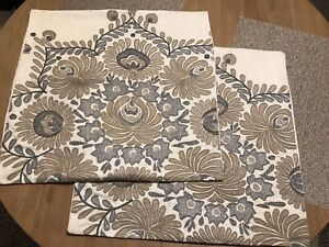 """POTTERY BARN Embroidered Brown Grey Linen Blend Pillow Cover Pair 20""""x20"""""""