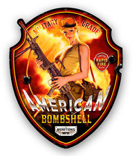 AMERICAN BOMBSHELL SHAPED HILDEBRANDT METAL SIGN PINUP GIRL -  SIGNED FREE PRINT