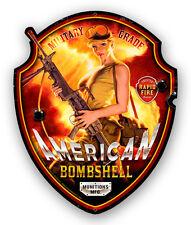 AMERICAN BOMBSHELL SHAPED HILDEBRANDT METAL SIGN PINUP GIRL -  SIGNED FREE PRINT