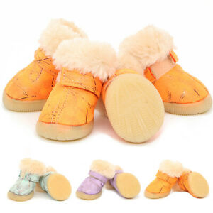 4 x Small Pet Dog Boots Winter Warm Anti-slip Soft Paws Protective Walking Shoes