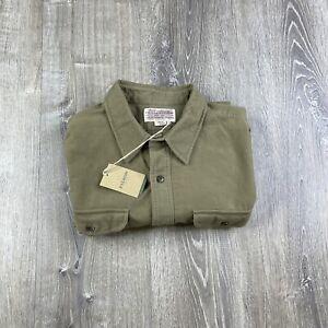 Filson Moleskin Seattle Shirt Tan Sueded Long Sleeve Men's Size XL