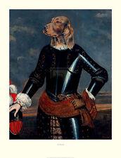 "IRISH RED SETTER GUNDOG DRESSED DOG COMIC ART PRINT - ""Le Marechal"" Portrait"