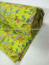 Green Paradise Print Handmade Kantha Bed Cover Bedspread Hippie Kantha Quilts