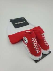 Converse Chuck Taylor Baby Hat & Booties Gift Set, 0-6 Months, Red, White L23 MP