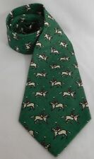 RALPH LAUREN POLO VINTAGE HANDMADE LINEN NECKTIE GREEN WITH POLO PLAYERS  EUC