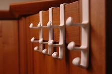 4 x Treble - Over The Door Hooks - Clothes Storage Racks Coat Hanger Hanging