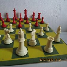 "Vintage 1950s Staunton Design Red & White Chess Set 2.75"" Kings 1.5"" Pawns"