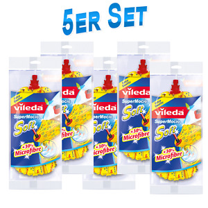 5x Vileda SuperMocio Soft Wischmop Bodenwischer Ersatzkopf 30 % Microfaser 1st.