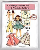 "2195 MAGGIE Rag - Soft  Doll Pattern 8"" & Wardrobe Vintage"