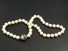 Gold 585 WG Akoya - Perlen - Kette mit Kugelverschluss / Rubine - Top QUALITÄT