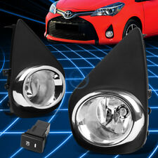 Chrome Clear JDM Driving Fog Light/Lamp+Switch for 2015-2016 Toyota Yaris XP130