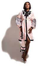 Embroidered light pink dress boho - ukrainian folk ethnic vyshyvanka. All sizes