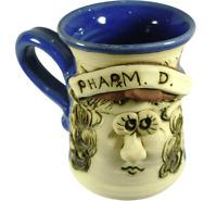 Bradford Pharm D Art Pottery Face Mug 3D Stoneware Pharmacist Handmade Signed