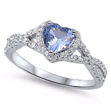 USA Seller Heart Ring Sterling Silver 925 Best Jewelry Selectable Aquamarine CZ