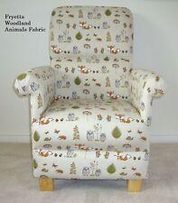 Fryetts Woodland Animals Fox Fabric Adult Chair Armchair Nursery Owl Beige Deer