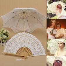 Womens VintageLace Sun Parasol Umbrella Hand Fan Wedding Decoration Photo Props