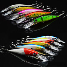 Lot 10pcs Kinds of Fishing Lures Crankbaits Hooks Minnow Baits Tackle Metal Hook