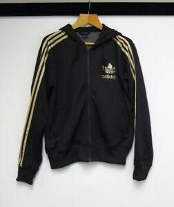 Adidas Originals Zip Hoodie UK Medium Black And Gold Y56 A65