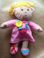 "Rag Doll From CHAD VALLEY 12"" Tall Pink Dress , Pig Tails Plush Doll ."