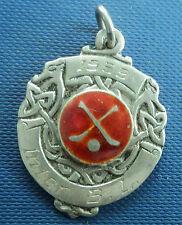 Irish Vintage Sterling Silver & Enamel Fob Medal - Hurling /Shinty - Dublin 1960