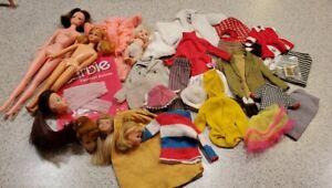 Vintage Barbie clothing lot 40 pc + dolls, heads, access, shoes, clones Solo