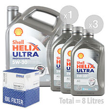 Engine Oil and Filter Service Kit 8 LITRES Shell Helix Ultra Pro AG 5w-30 8L