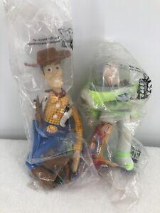 "Vintage Disney Pixar TOY STORY Woody 10"" & Buzz 8"" HAND PUPPET PLUSH Toys Sealed"
