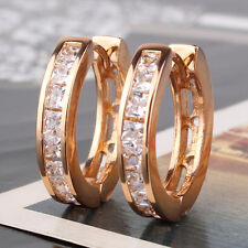 HUCHE 18K Gold Filled Round Hoop Diamond Clear Sapphire Women Lady Hoop Earrings