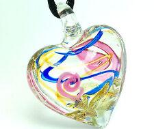 Handwork Stylish Fashion Women's heart lampwork glass bead pendant necklace JP06