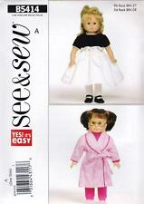 BUTTERICK SEWING PATTERN SEE & SEW DOLL CLOTHES FOR 18 INCH DOLL B5414
