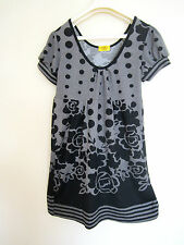 Ladies Rose Flower Polka Dot Tunic Top Dress GREY Size 8-10 Skater Shift Blouse