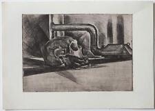 Nature morte SKULL, etching 1950s Austrian artist