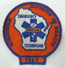 Wisconsin Division of Health EMT Emergency Medical Technician Patch Embroidered