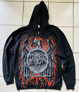 Slayer Iron Eagle Mens Hoodie Black Heavy Metal Full Zipper Sweatshirt XL NEW!