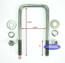 Boat Trailer U-Bolt w/ Hardware Stainless Steel 1/2 Inch x 3 Inch x 6 5/16 Inch
