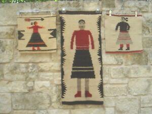Vintage! Three Primitive NAVAJO Woven Wool Tapestry Samplers w/Women Beige/Red