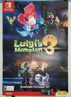 Luigis Mansion 3 Poster Nintendo Switch Gamestop Store Display Ad Promo Rare