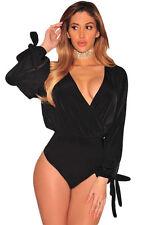 Top Body aperto Lacci Nudo Scollo Velluto Cerimonia Party Club Cutout Bodysuit L