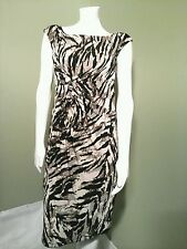 CONNECTED APPAREL Women's Brown Animal Print Sheath Dress Retail $69~ Size 08