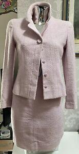 A Very Stylish Genuine Chanel Baby Pink Boucle Jacket & Skirt Size 10 EU38