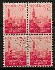 NETHERLANDS SGJ26 1951 7c RED BLOCK OF 4 FINE USED